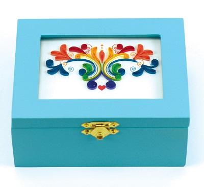 Rainbow Swirl Blue Musical Keepsake Box