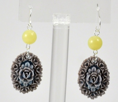 Yellow-Grey Vintage Flower Drop Earring