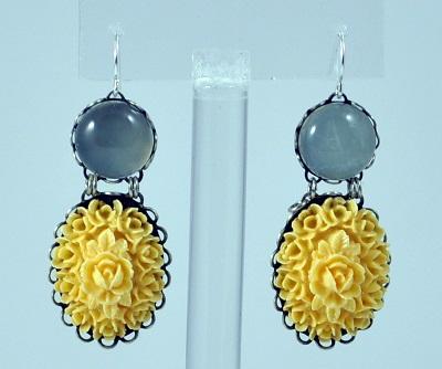Vintage Flower Earring - Grey-Yellow