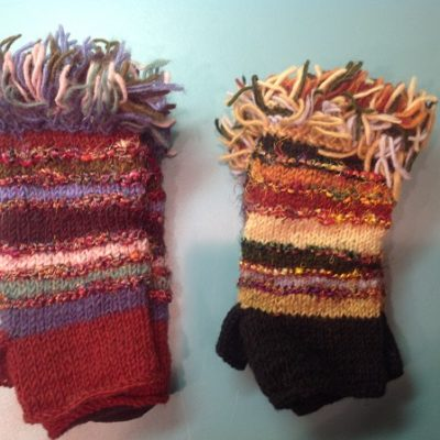 Wool Fringed Fingerless Gloves