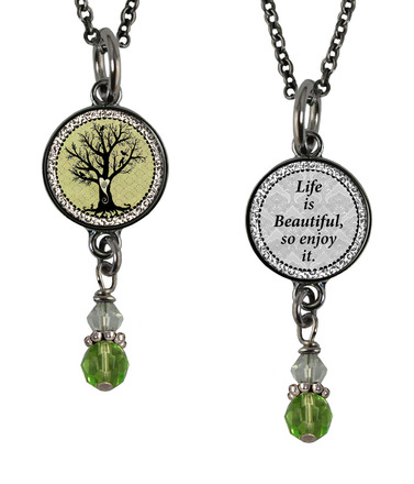Vintage Tree of Life Green Reversible Pendant