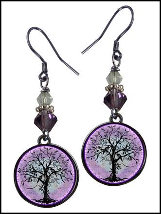Tree of Life Purple Bead Earrings