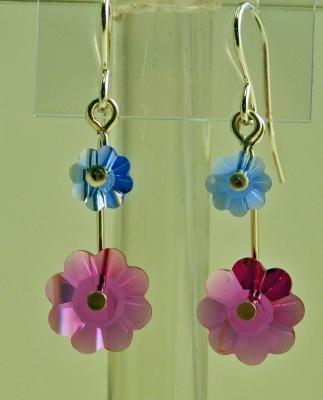 Crystal Flowers Drop Earrings