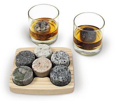 On the Rocks Wooden Tray with 6 Round Stones and 2 Tumblers