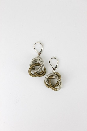 Silver Bronze Floating Knot Earring