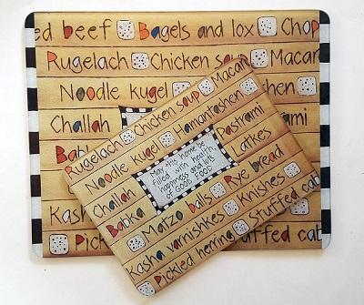 Jewish Foods Glass Cutting Board