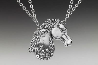 Vintage Horse Pendant on Double Chain