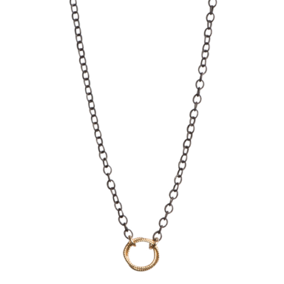 Petite Chain Necklace with Gold Circles
