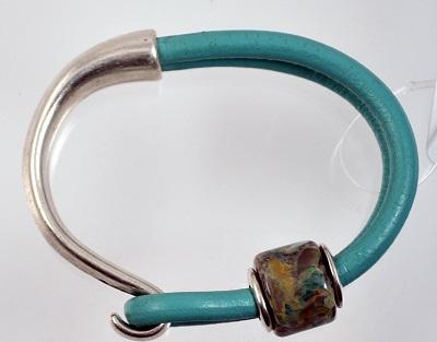 Leather Glass Bead Bracelet - Aqua #10