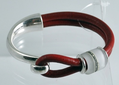 Red Leather Glass Bead Bracelet - #12