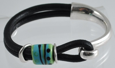 Black Leather Glass Bead Bracelet