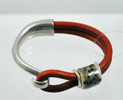 Red Leather Glass Bead Bracelet - #5SM