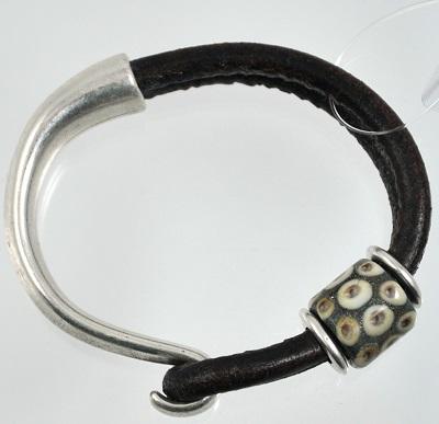 Brown Leather Glass Bead Bracelet - #7SM