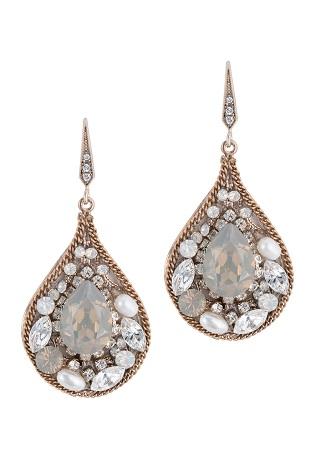 Grey Opal Crystal Centered Tear Drop Earring