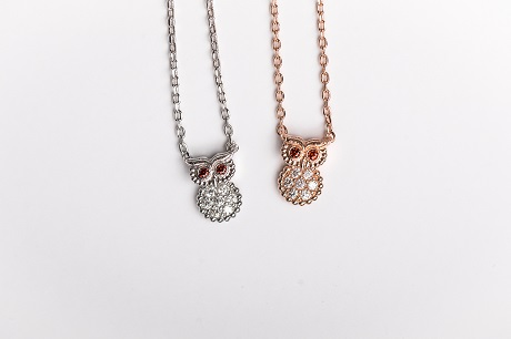Owl Short Necklace - White or Rose Gold