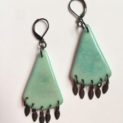 Tagua Nut Triangle Earring with Fringe-Sky