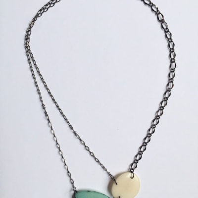 Two Color Asymmetrical Tagua Nut Bead Necklace