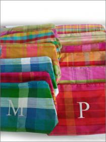 Initialed Silk Plaid Cosmetic Bag