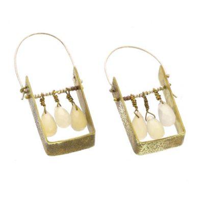 Boxed Gem Brass Earrings - White Onyx