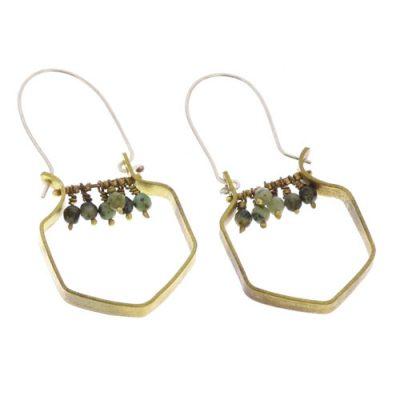 Hexagon Brass Dangling Gem Ear-African Turquoise