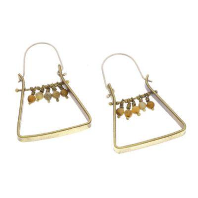 Triangle Brass Dangling Gem Earrings - Yellow Moss Agate