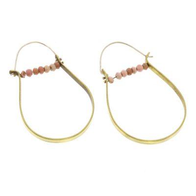 High Strung Gem Brass Hoop-Pink Opal