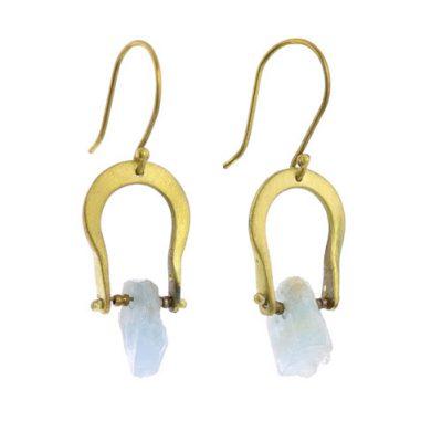 Crescent Earrings - Raw Aquamarine