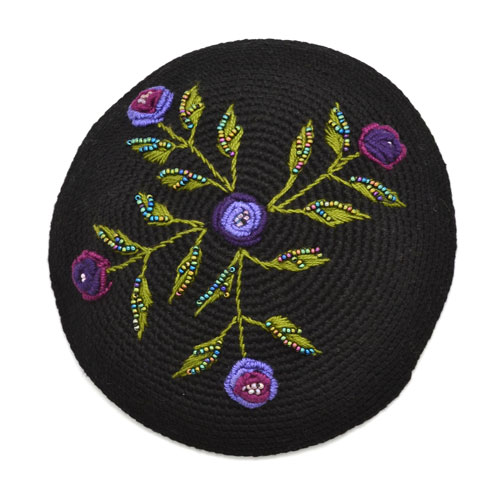 Embroidered Roses Kippot