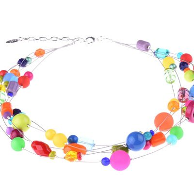 5 Strand Multi-colored Resin Beaded Necklace