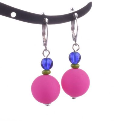 Hot Pink Drop Resin Beaded Earring
