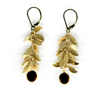 Fringe Earrings with Antique Leaf Triangles - Black