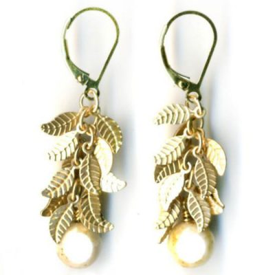 Fringe Earrings with Antique Leaf Triangles - White