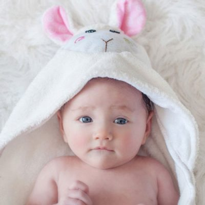 Zoocchini Baby Hooded Towel - Lola the Lamb