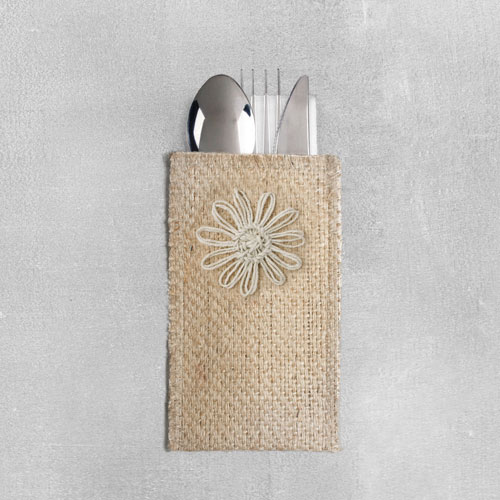 Natural Jute Flower Silverware Pouch