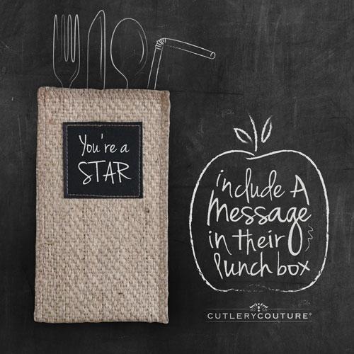 Chalkboard Patch Silverware Holder