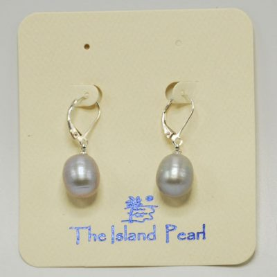 Grey Pearl Lever Back Earrings