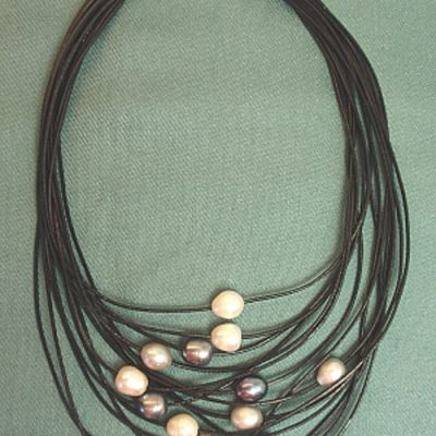 "18"" Grey Leather Necklace with Mix Freshwater Pearls"
