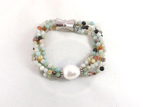 Amazonite Bracelet-Freshwater Pearl