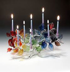 Glass Rainbow Tree of Life menorah