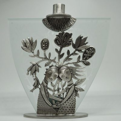 Bouquet Pewter Candlestick