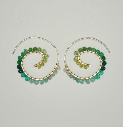 Fiddlehead Fern Earring - Forest Colorway Ombre