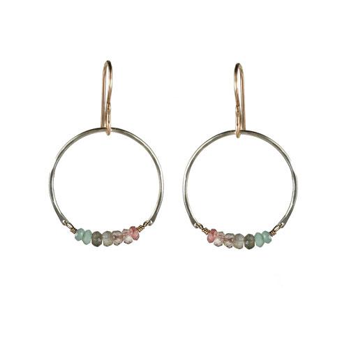 Sterling Silver Partial Hoop with Gemstones