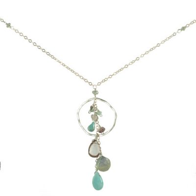 Organic Hoop with Gemstones Necklace